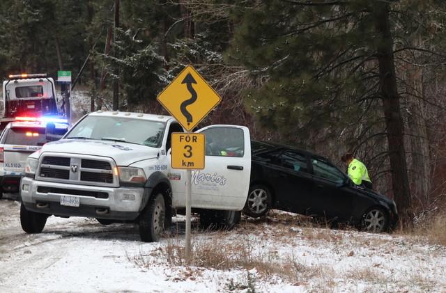 A car slid off West Kelowna's Shannon Lake Road Wednesday (West Kelowna)