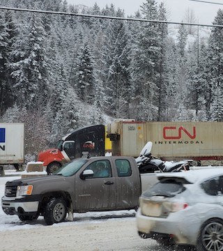 RCMP tell Castanet that two commercial tractor-trailers collided head-on 40 km east of Revelstoke.