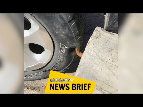 Punctured by parking barrier
