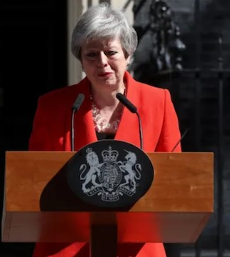 Bowing to the inevitable, Theresa May announced Friday that she will step down as U.K. Conservative Party leader.