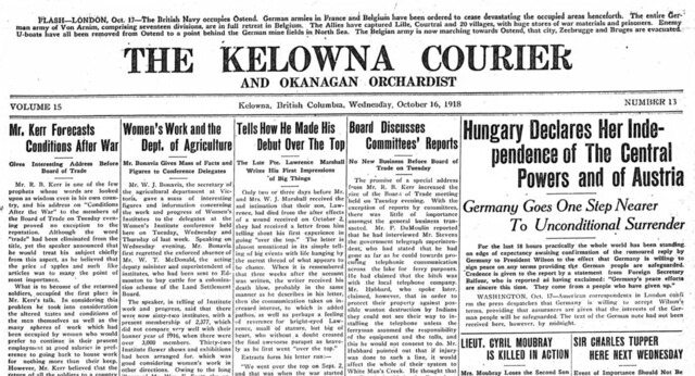 Historical editions of Kelowna Daily Courier, 1904-1945, now viewable online