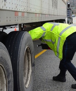 Unsafe commercial truck driver caught at Burnaby check stop only had a learner's licence.