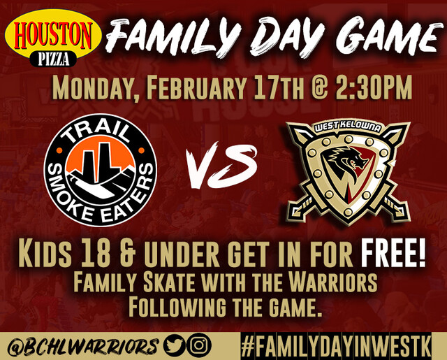 Kids get in free to West Kelowna Warriors Family Day matinee - BCHL