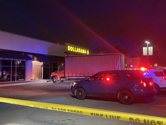 No injuries reported after a truck without a driver rolled into Kamloops Dollarama