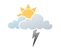 Mainly cloudy. A few showers beginning in the morning. Risk of thunderstorms late in the morning and in the afternoon. Local amount 5 to 10 mm. High 17. UV index 3 or moderate.