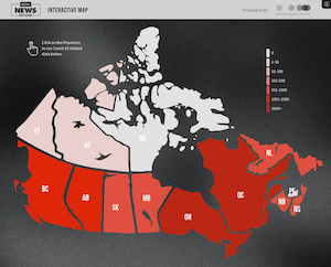 Interactive Map of Today's COVID-19 cases in Canada